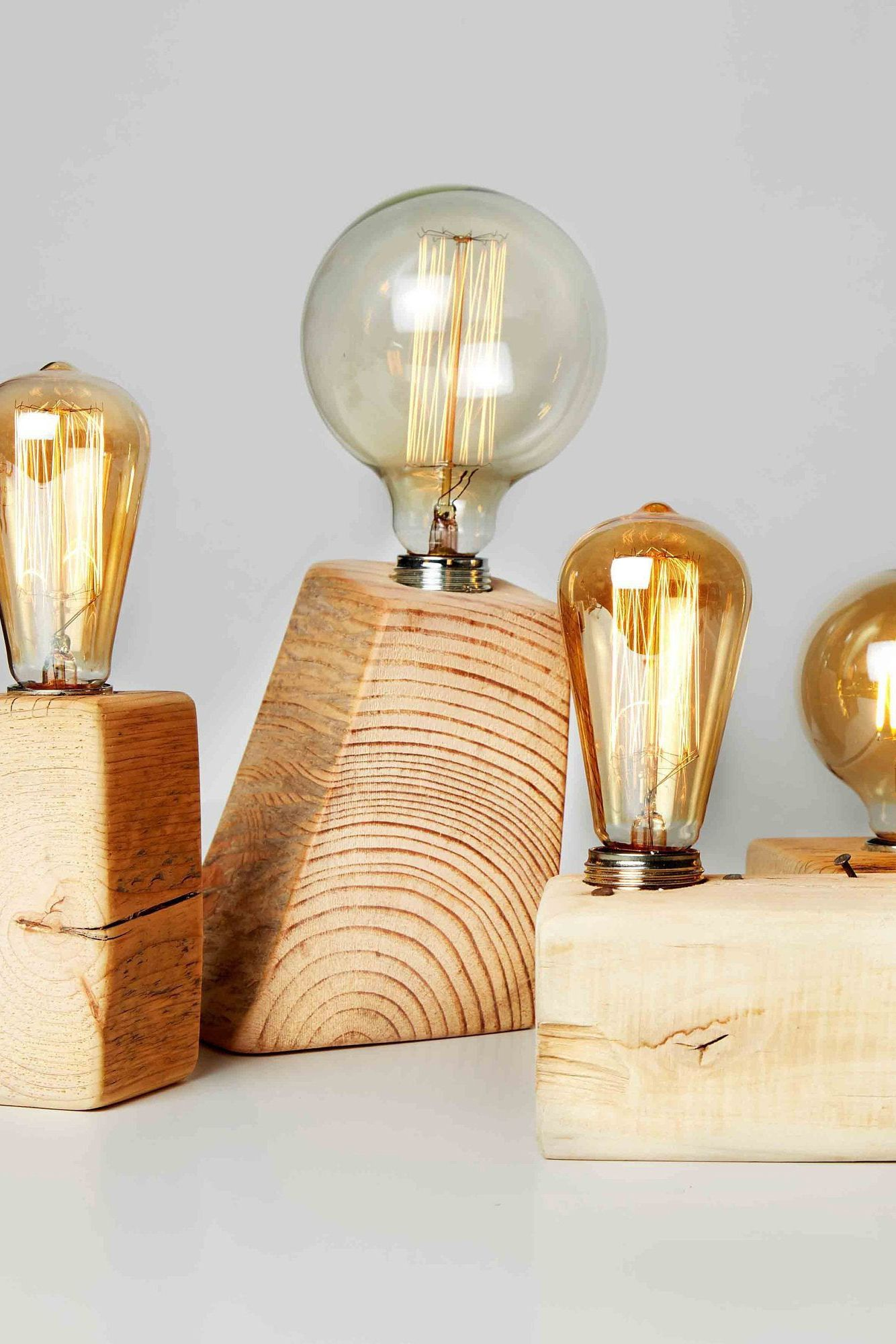 Reclaimed Wood Edison Bulb Lamp Eco Friendly Modern Wood Lamp Rustic Farmhouse Lighting Trending Home Decor First Home Housewarming Gift Edison Bulb Lamp Bulb Wood Pendant Light