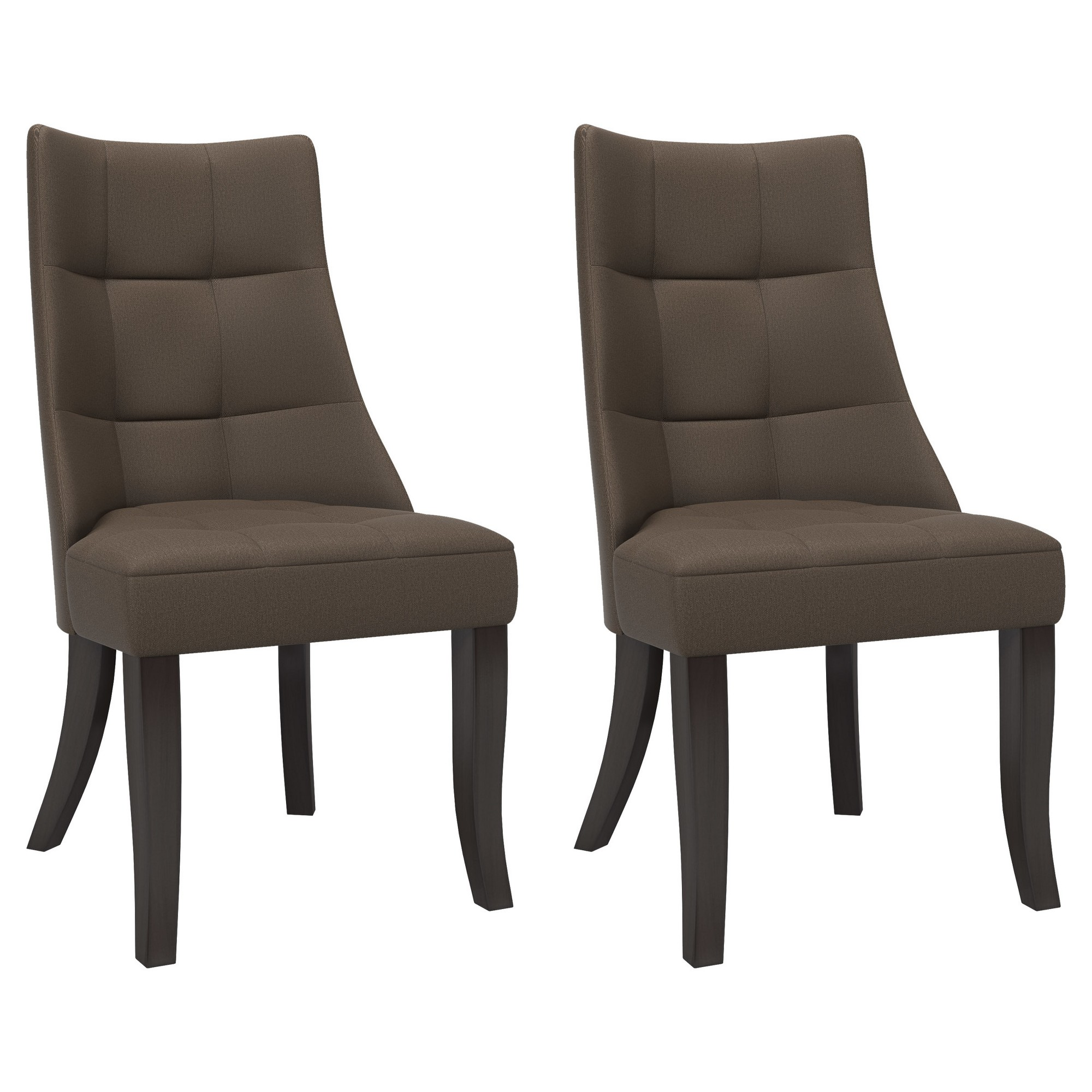 Tufted Dining Accent Chair Brown/Gray (Set of 2