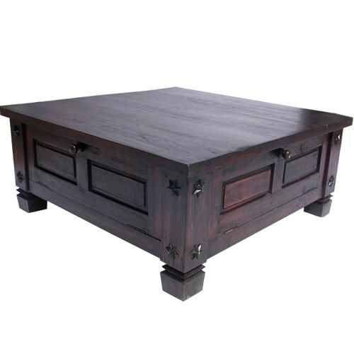 Rustic Large Square Coffee Table With Storage Wood Chest Large