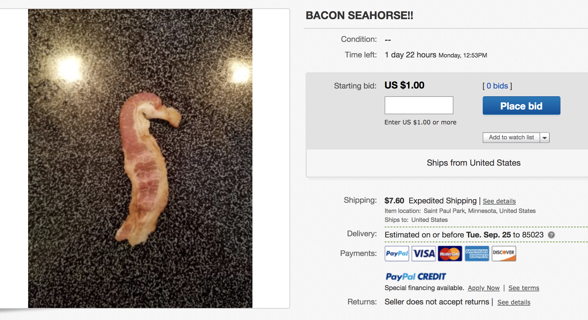 This Bacon Is Listed On Ebay Check Out My Book Of Items That Have Actually Sold Crazy Things That Sold On Ebay 2018 On Amazon Now Selling On Ebay