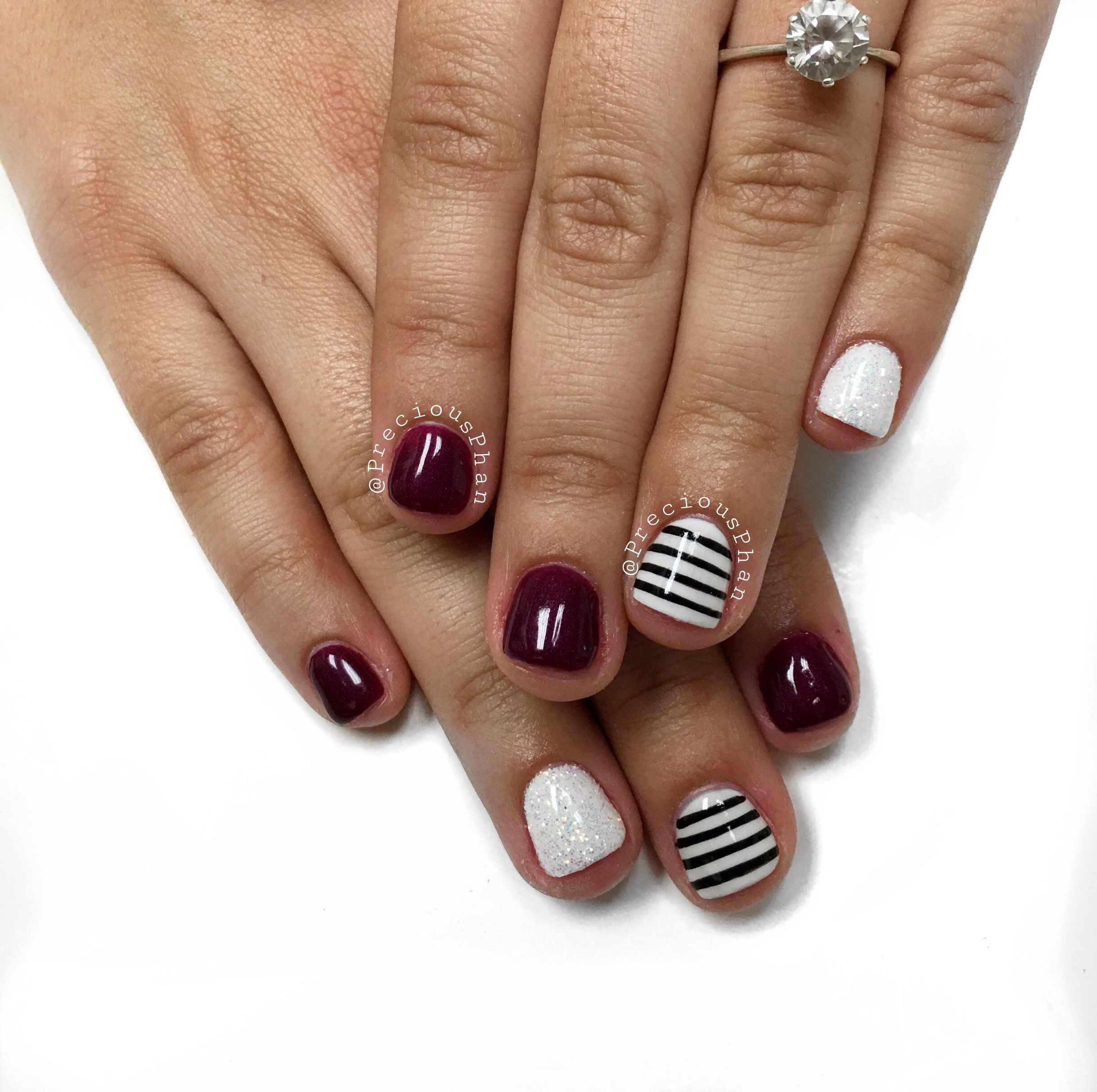Nails Autumn: White Black And Maroon Nails. Fall Nails. #PreciousPhan