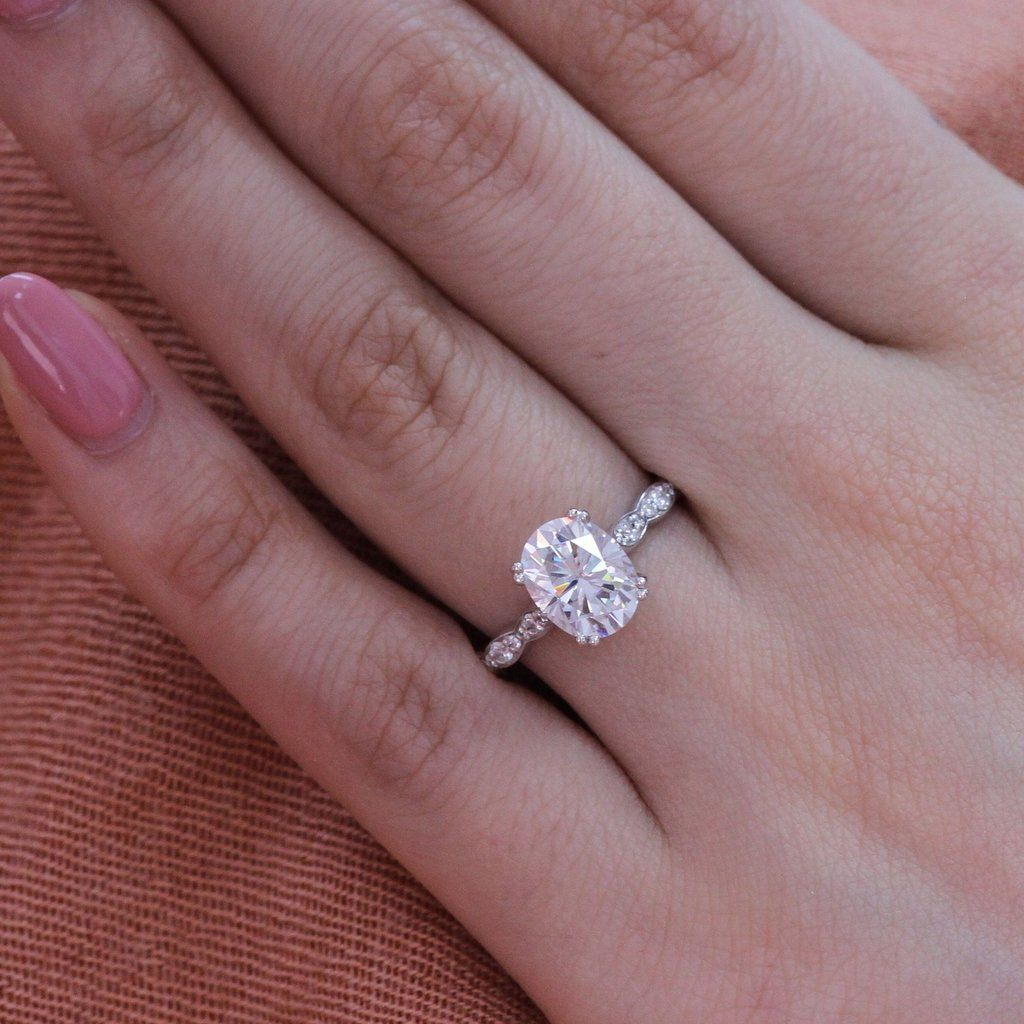 1afeee076aff6 Grace Solitaire Ring in Scalloped Band w/ Oval Moissanite and ...