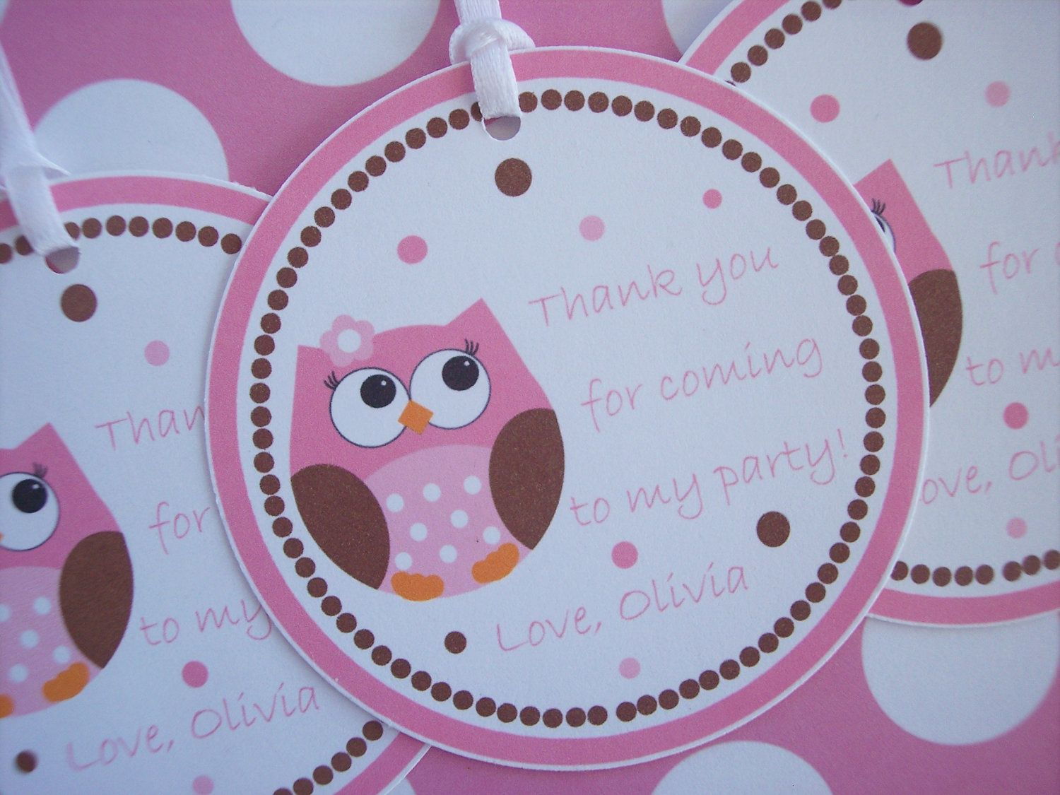 Owl Birthday Tags Owl Baby Shower Favor Tags Pink by kidEprints