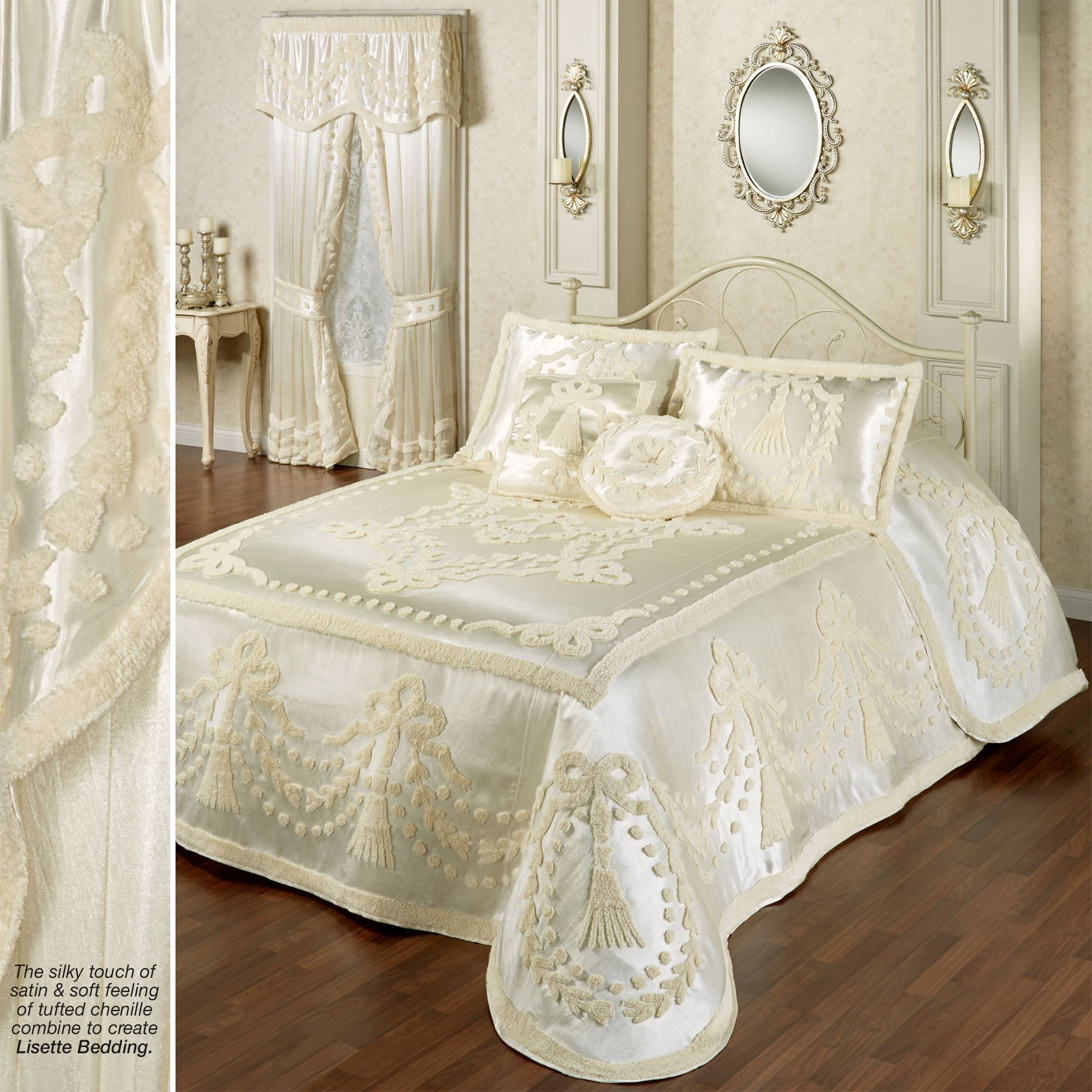 Lisette pearl chenille satin oversized bedspread by touch of class