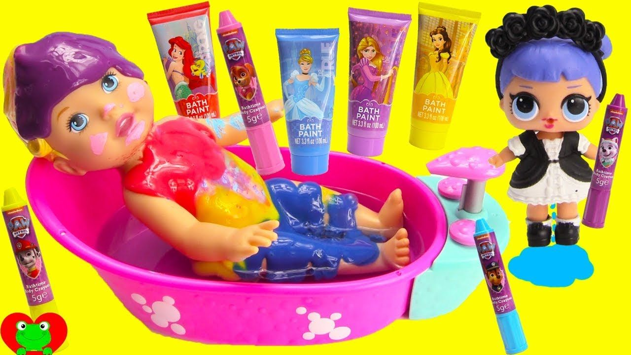 Baby Doll And Lol Surprise Dolls Bath Paints And Crayons Body Coloring Bath Paint Baby Dolls Pretty Kids