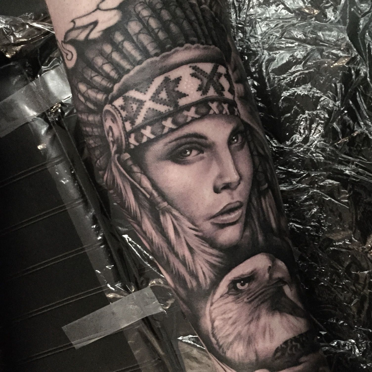 Realistic Black and grey indian girl / owl tattoo by our