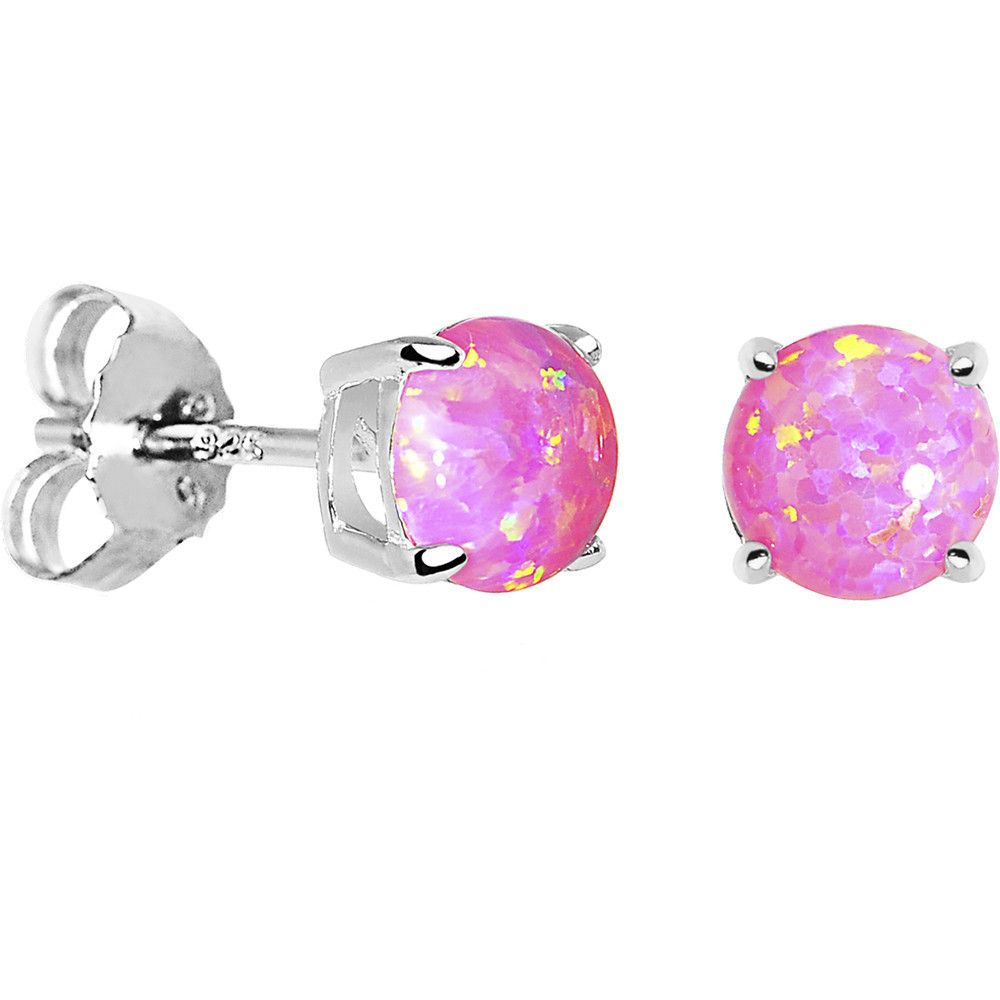 6mm Pink Round Sterling Silver Synthetic Opal Stud Earrings | •BODY ...
