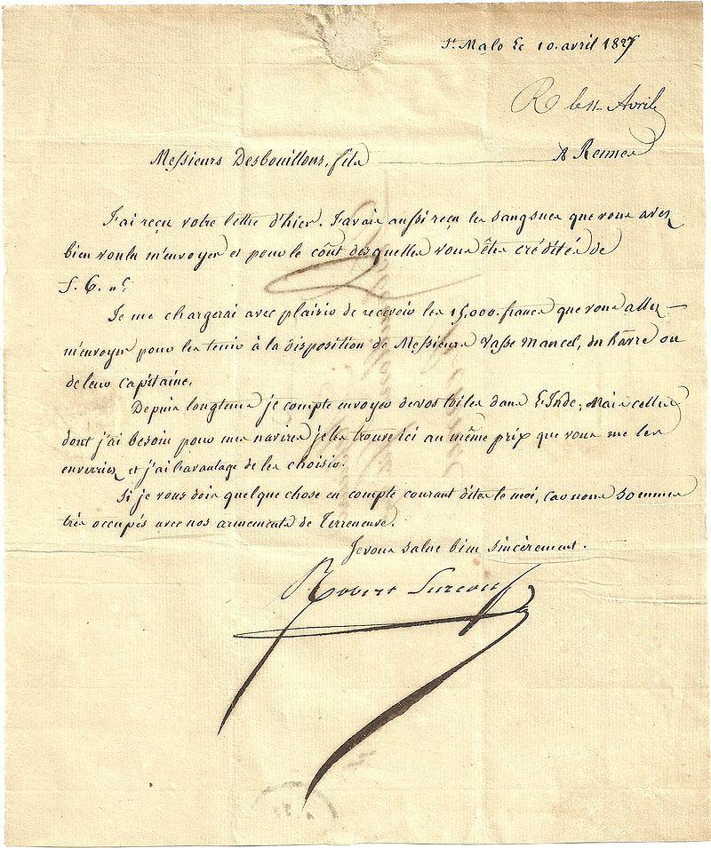 lettre wikipedia Lettre Surcouf avril 18270001   Robert Surcouf — Wikipédia  lettre wikipedia