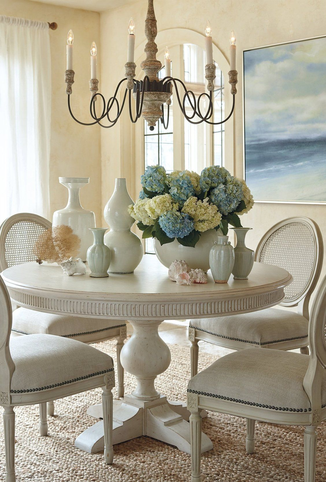 Frederick Pedestal Dining Table Frontgate Round Dining Room Table Dining Room Table Centerpieces Pedestal Dining Table