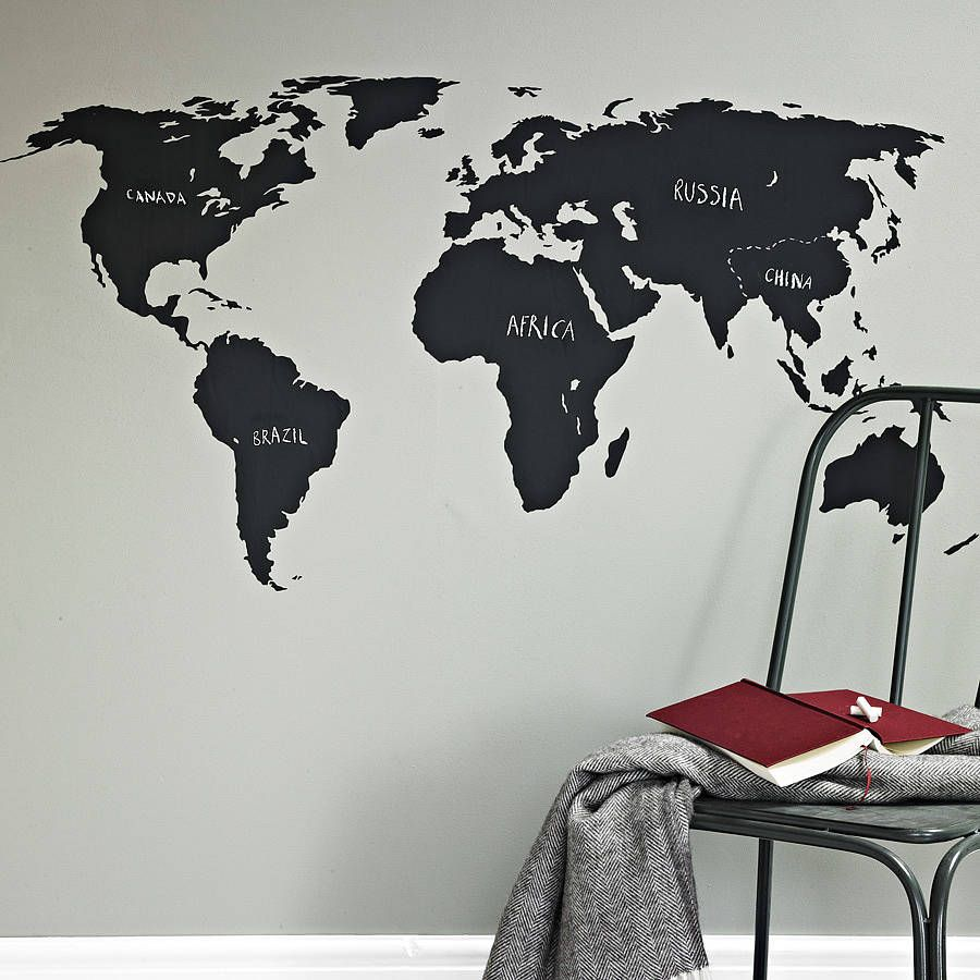 Great for teaching or a game by drawing on where cities countries chalkboard world map wall sticker gumiabroncs Images