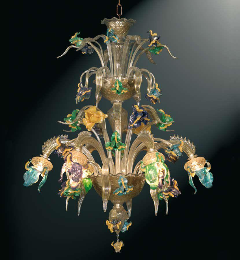 lampadario #vetro #murano. Lampadario classico in vetro trasparente ...