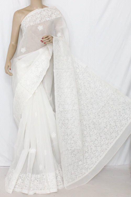 deba7174b0 White Hand Embroidered Lucknowi Chikankari Saree (With Blouse - Cotton)  13666