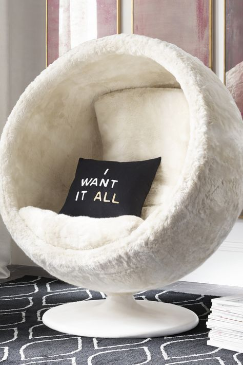 RH TEENu0027s Orbit Arctic White Fox Luxe Faux Fur Chair:Our Spherical,  Low To The Ground Lounger Gives Off A Playful Interplanetary Vibe.