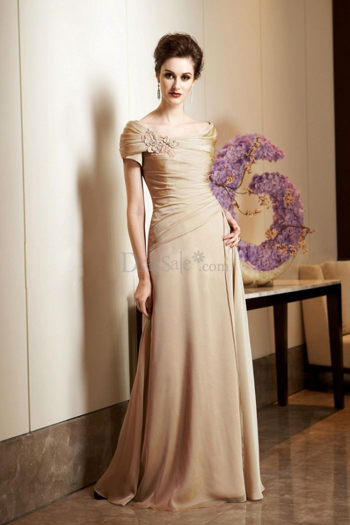 Classic Off-the-shoulder Sheath Mother of Bride Dress with ...
