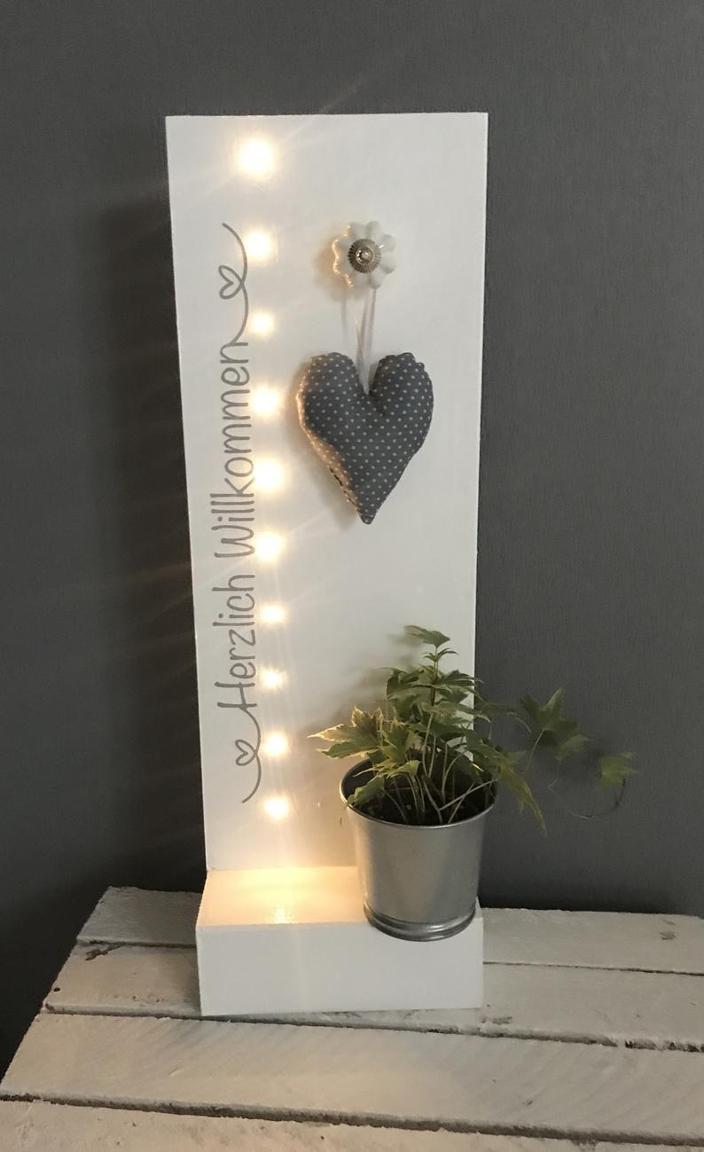 Hauseingang Holzschild Mit Beleuchtung Willkommen Spruch