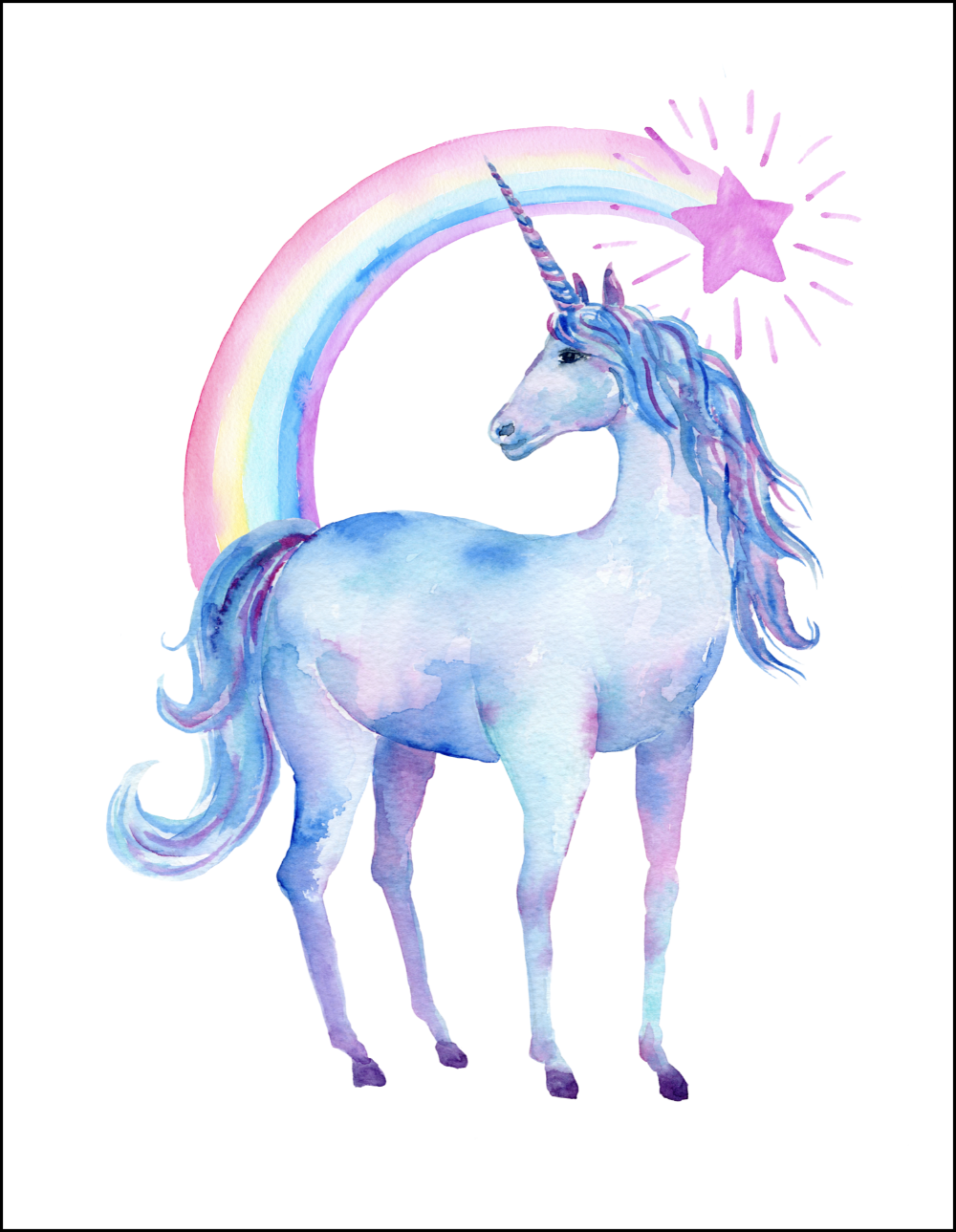 image regarding Free Printable Unicorn Pictures known as Totally free Printable Watercolor Unicorn Photographs Get together recommendations