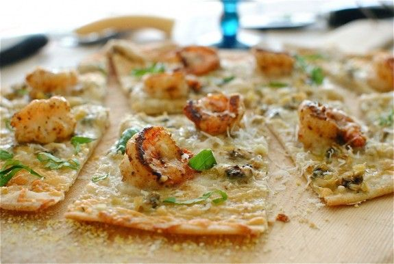 thin crust shrimp and clam pizza.