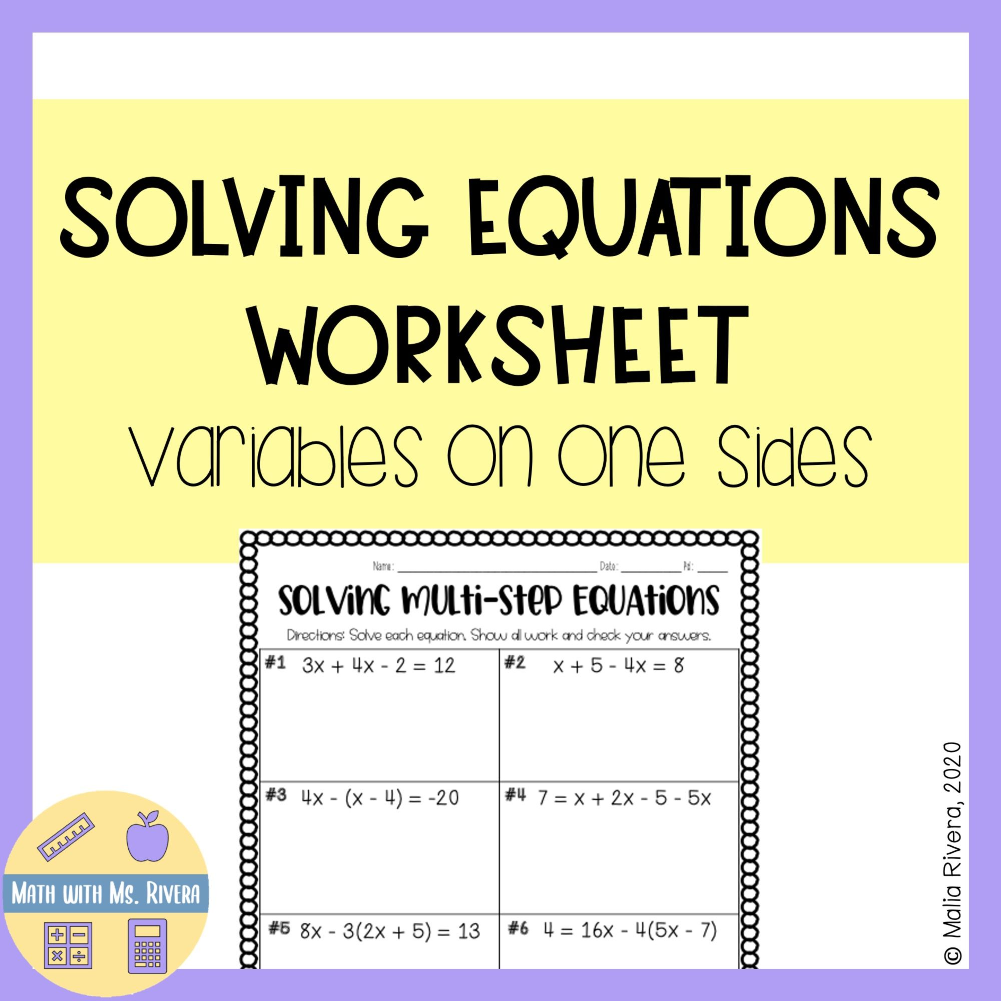 Solving Multi Step Equations Worksheet Variables On One
