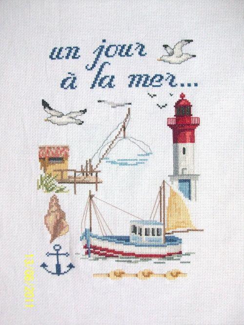 Point de croix mer un jour la mer 56 stitches4life pinterest cross stitch stitch and - Grille point de croix mer ...