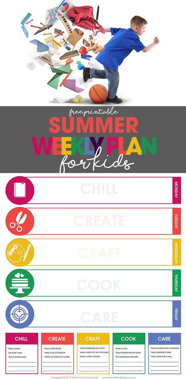 Summer Weekly Plan for Kids Kids schedule, Summer