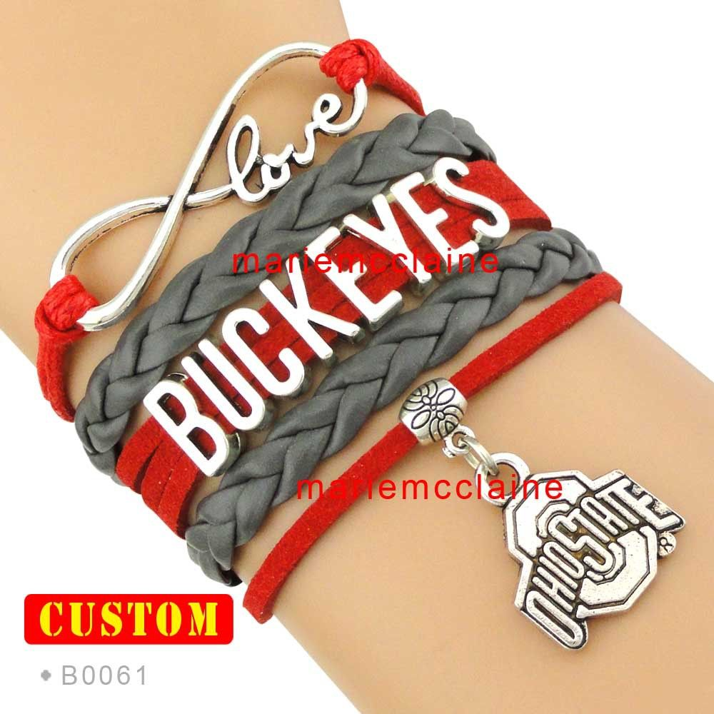 10 Pieces Lot Infinity Love Ohio State Buckeyes Sports Team Bracelet Ncaa Scarlet Gray Custom Cheer