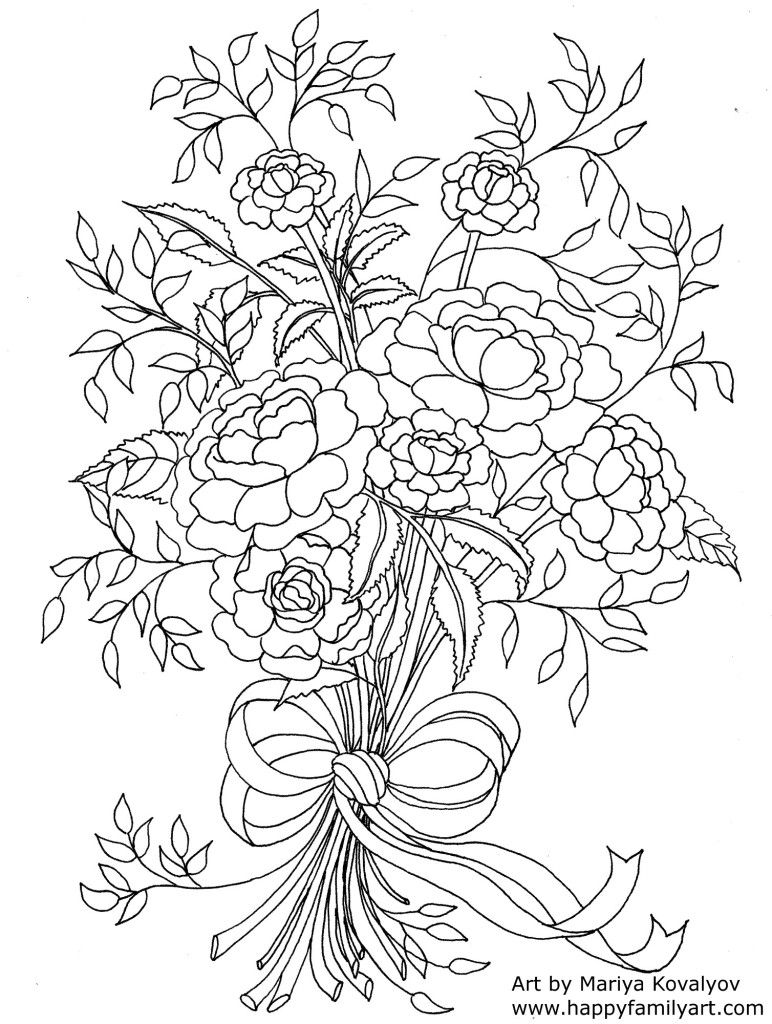 Mothersdayflowers -   Flowers, Adult coloring and Coloring books