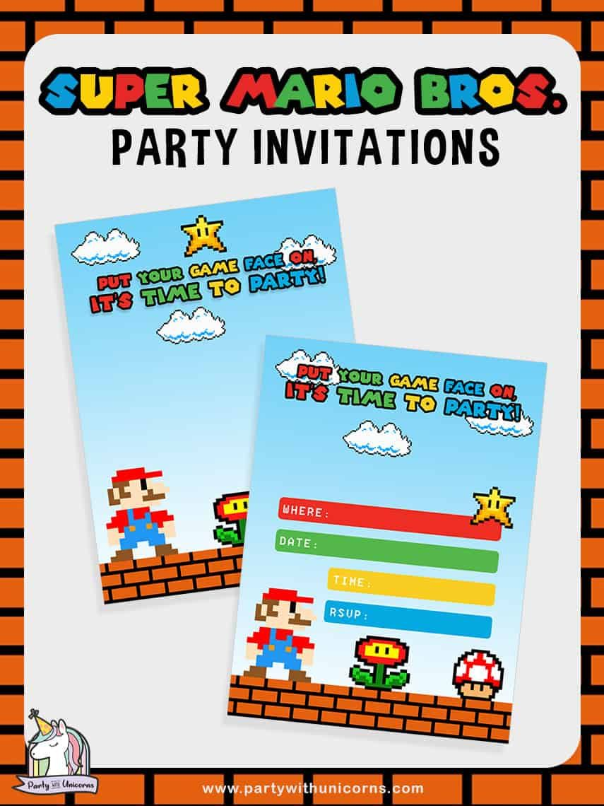 20 Awesome Super Mario Party Ideas With Free Super Mario Party Printables Super Mario Invitation Super Mario Party Mario Party