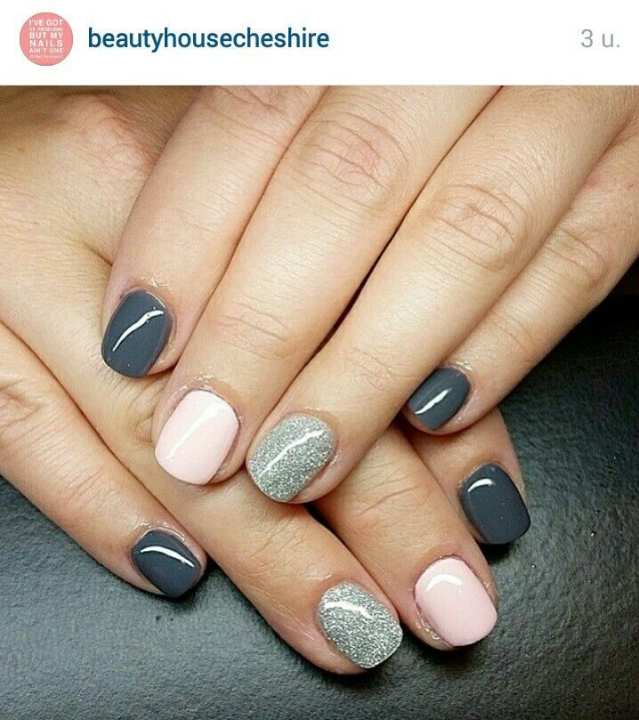Grey Light Pink And Glitter Great Spring Manicure Nail Design