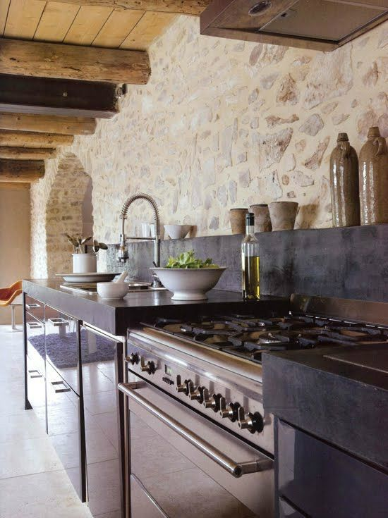 43 Kitchen Design Ideas With Stone Walls Decoholic Stone Kitchen Kitchen Stone Wall Stone Walls Interior