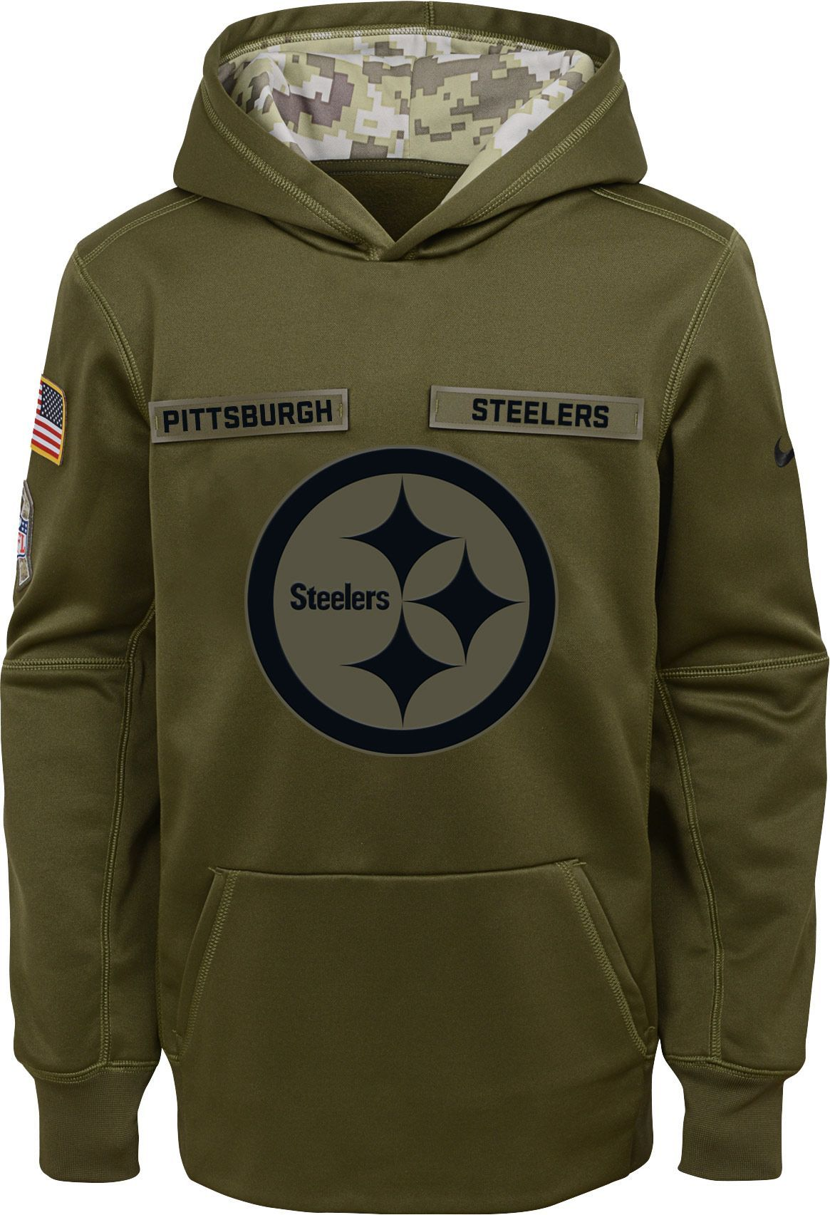 Nike Youth Salute to Service Pittsburgh Therma-FIT Olive Performance Hoodie 74ba5d9d6