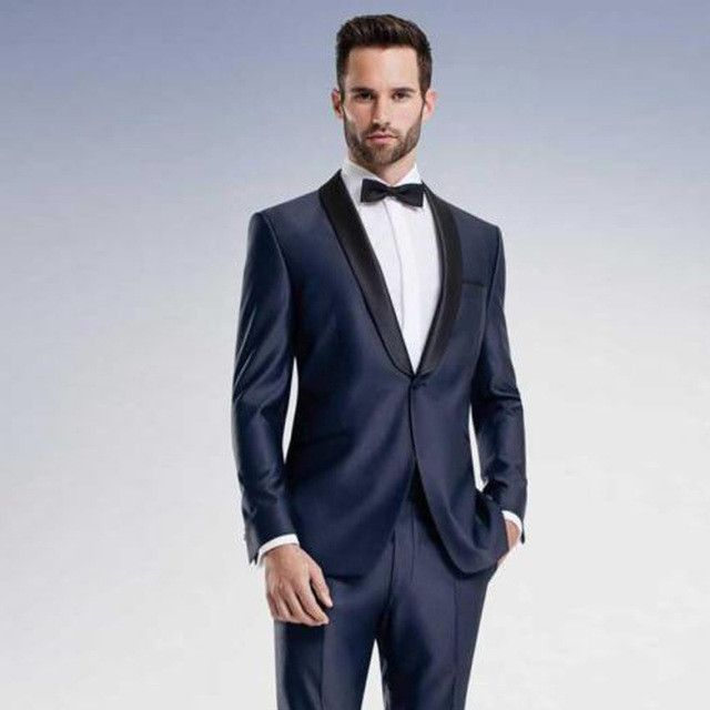 Classic Design Navy Blue Men Dinner Party Prom Suits Groom Tuxedos ...
