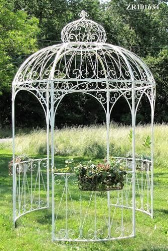 Charming Large Iron Metal Gazebo With Side Planters In Ant White Or Frosted  Gold