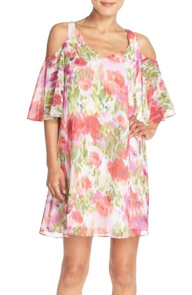 af55b7ac26b Maggy London Flower Print Chiffon Cold Shoulder Dress available at   Nordstrom