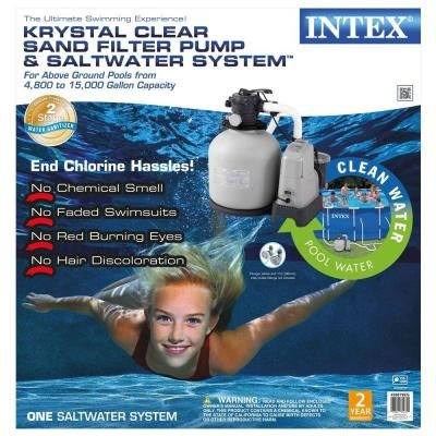 Intex 120 Volt Above Ground Sand Filter Pool Pump And Saltwater System 28679eg The Home Depot Pool Pump Pool Skimmer Pool