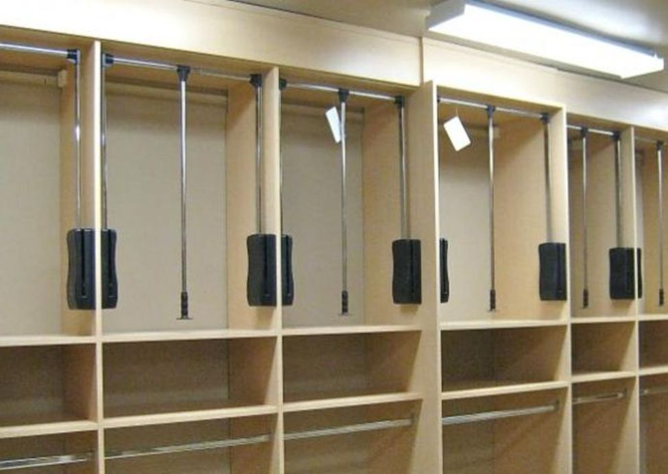 Image Of: Pull Down Closet Rod Back Wall Mount
