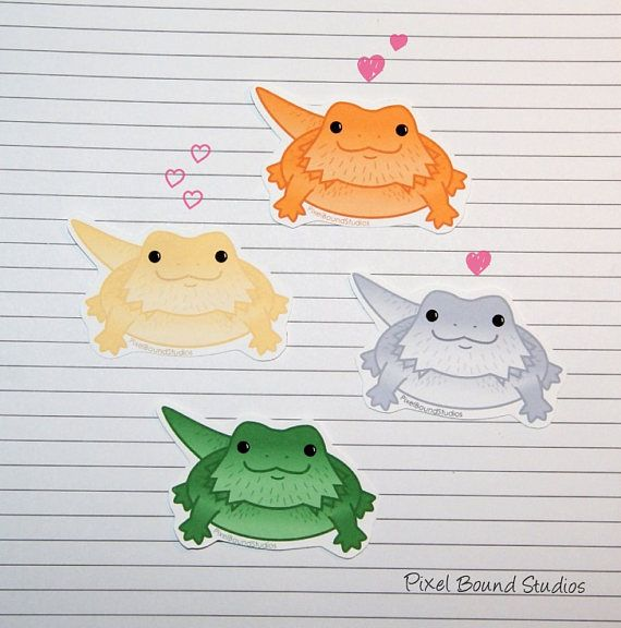 Chibi Bearded Dragon Stickers and Magnets | Dibujo