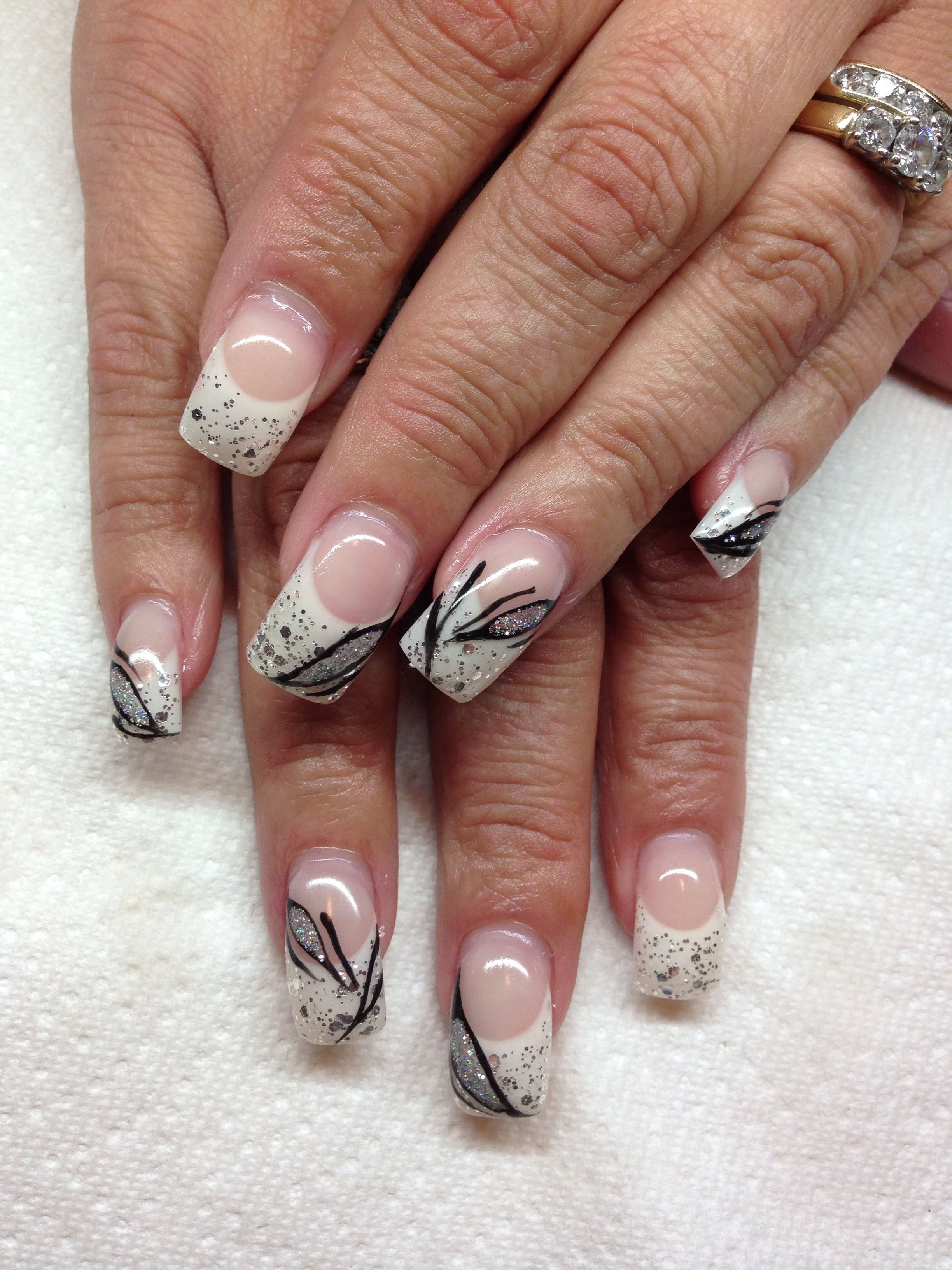 Gel Nails With Hand Drawn Design By Melissa Fox Nails Pinterest