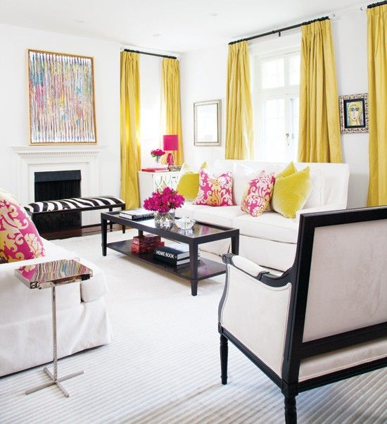 Black white and yellow with pops of pink living room - Black white yellow living room ideas ...