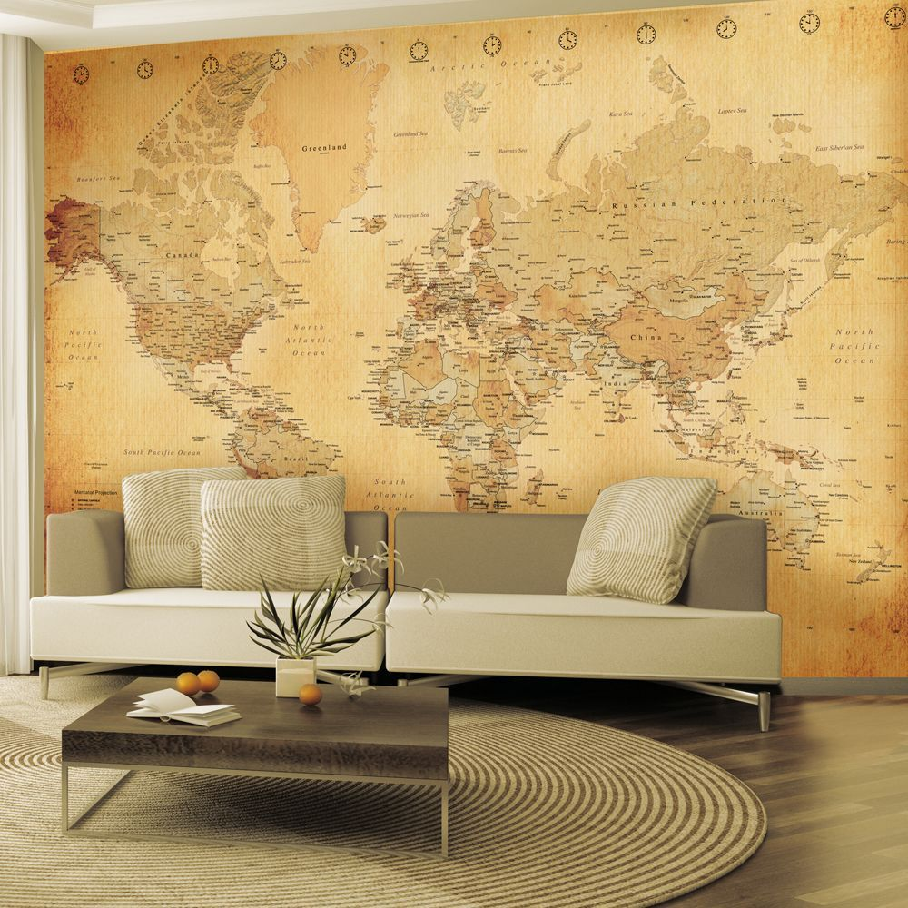 Vintage World Map Wall Mural 2.32m x 3.15m | Pinterest | Wall murals ...