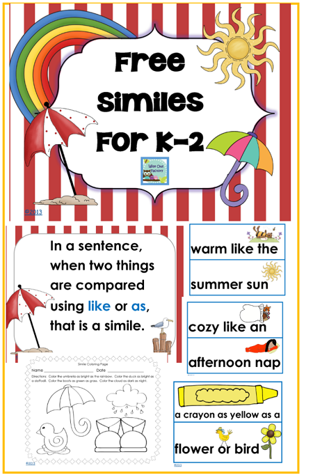 Free Printable K 2 Similes 20 Pages May Be Used With Any Children