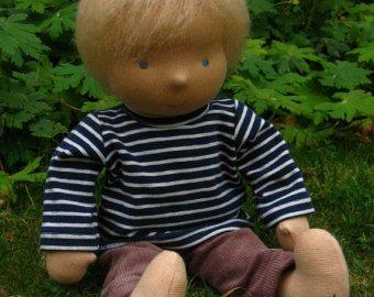 Waldorf Doll, Boy, 14 tall, blond hair, Ash (made to order)