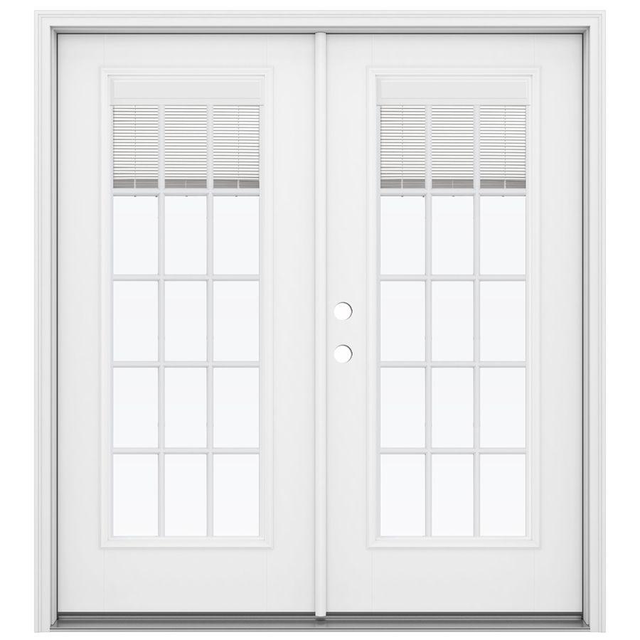 Jeld Wen 72 In X 80 In Blinds Between The Glass Primed Fiberglass Right Hand Inswing Double Door French Patio Door Lowes Com French Doors Patio French Doors Exterior Patio Doors
