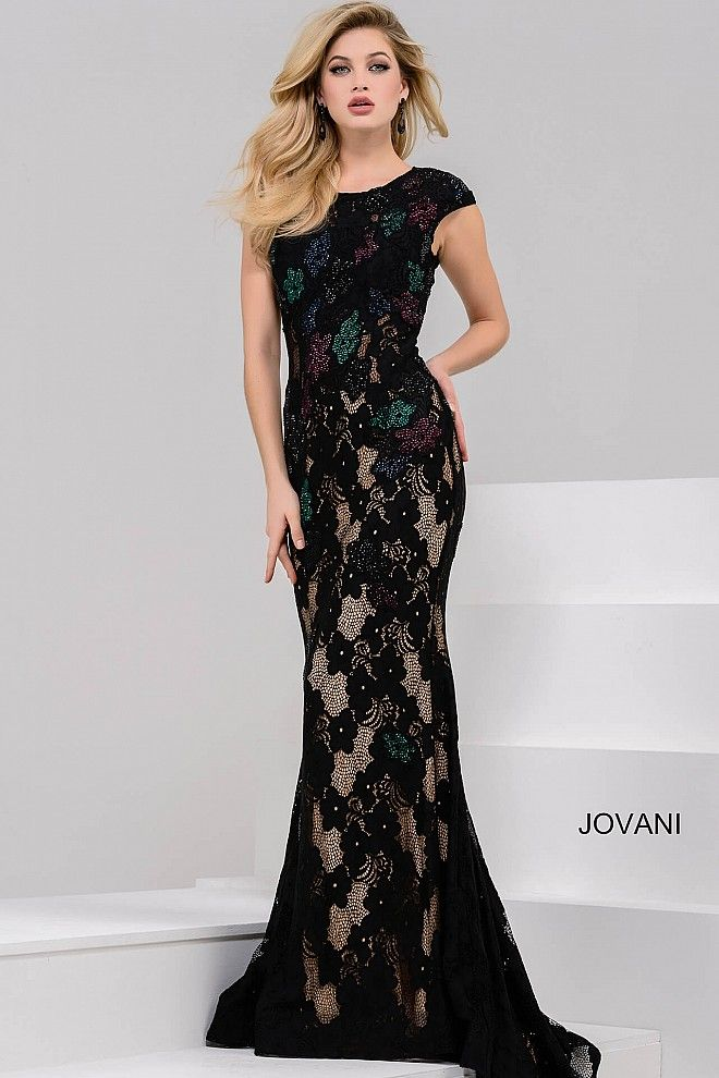 Black Fitted Lace Cap Sleeve Dress 36625 Prom Dresses For The 2017
