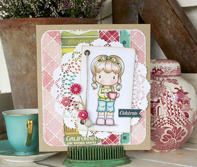 What a cheerfully sweet, adorable, beautifully stamped and coloured card! #cute #card #handmade #scrapbooking #crafts #stamp #card_making