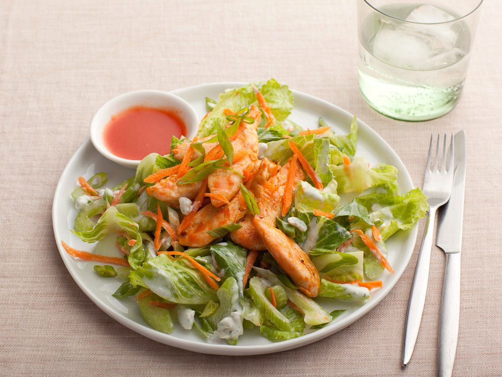 Buffalo Chicken Salad from FoodNetwork.com    http://www.foodnetwork.com/recipes/healthy-appetite-with-ellie-krieger-/buffalo-chicken-salad-recipe/index.html