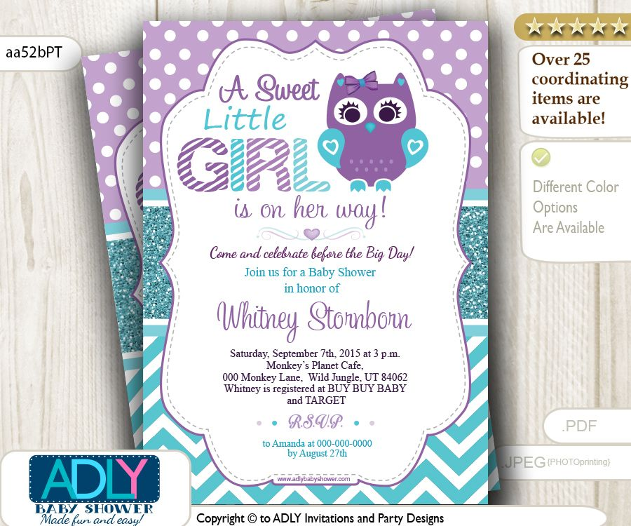 Purple Teal Girl Owl Baby Shower Invitation, $15.00 (http://www.