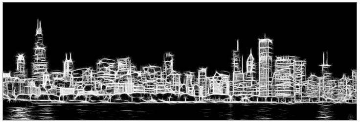 Chicago Skyline Wall Mural Canvas Part 90