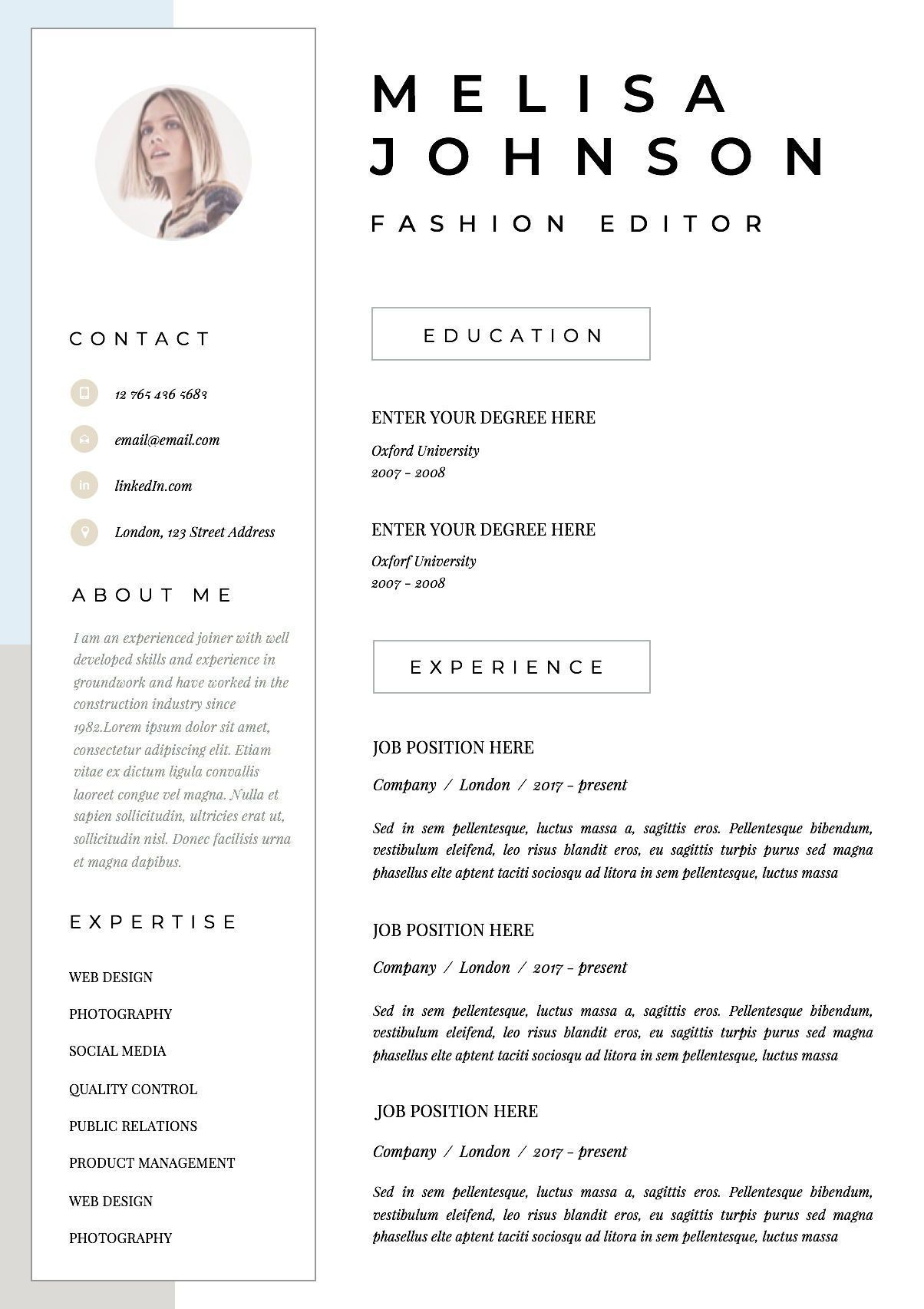 Resume Template Cv Template Resume Cv Design Teacher Resume Curriculum Vitae Cv Instant Download Resume C Resume Kreatif Cv Kreatif Desain Resume