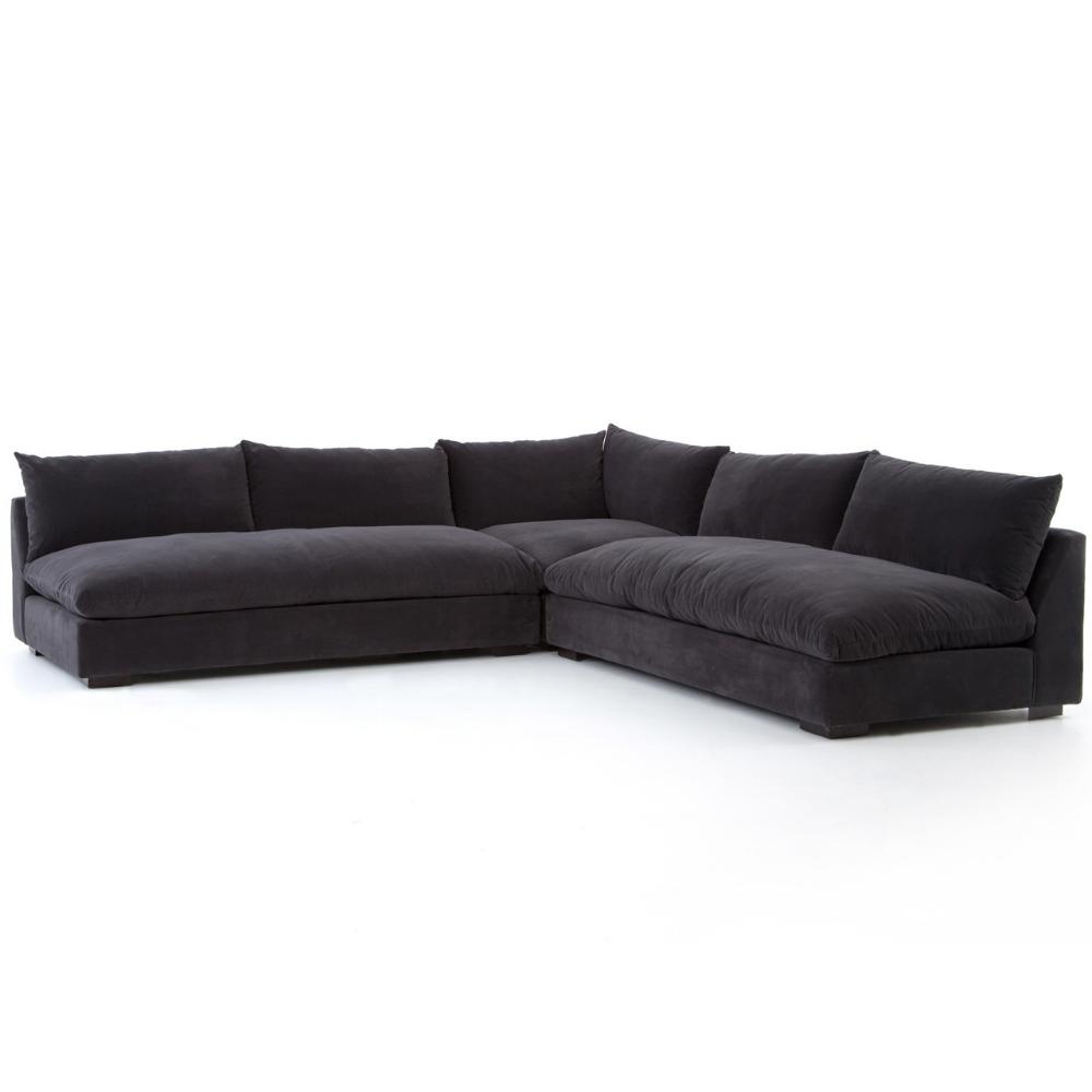 Grant Modern Charcoal Grey Armless Corner Sectional Modern Sofa Sectional Corner Sectional Sectional Sofa