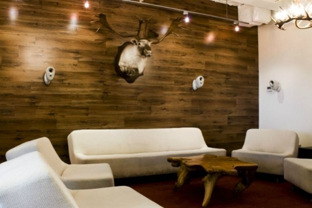 install laminate flooring on the wall the ikea tundra is quite cheap and looks rustic - Wall Laminates Designs